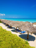 Thatched umbrellas at a beach in Cuba Royalty Free Stock Image
