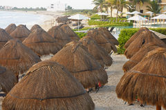 Thatched Umbrellas on Beach by Resort Pool Stock Photo