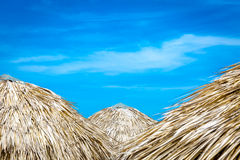 Thatched umbrellas at the famous Varadero beach in Cuba on a beautiful summer day Stock Photo