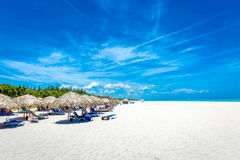 Thatched umbrellas at the famous Varadero beach in Cuba on a beautiful summer day Stock Photos