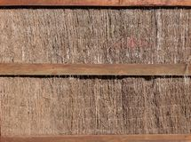 Thatched wall with natural hay or dried grass plant for background, backdrop, texture, surface, detail, design, construction. Material, abstract, pattern, house royalty free stock image