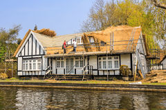 Thatchers repairing a roof. An image of Thatchers repairing a roof on a bungalow on the Norfolk Broads Stock Images