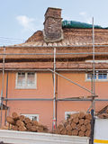 Thatching work in progress. Cottage roof thatch under renewal in an Exmoor village in Somerset UK Royalty Free Stock Photography