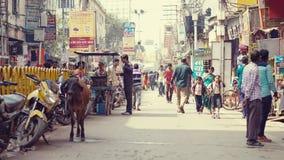 Thatheri Bazar Chowk, Varanasi, Indien Arkivfoton