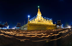 Thatluang festival in Vientiane Lao PDR. VIENTIANE,LAOS The Buddhism golden pagoda Wat Pha That Luang at night in Vientiane,Laos. This Buddhist temple famous Stock Images