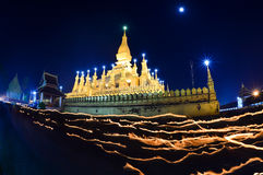 Thatluang festival in Vientiane Lao PDR. VIENTIANE,LAOS The Buddhism golden pagoda Wat Pha That Luang at night in Vientiane,Laos. This Buddhist temple famous Stock Photography