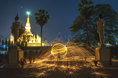 Thatluang pagoda in Vientiane Lao PDR. VIENTIANE,LAOS The Buddhism golden pagoda Wat Pha That Luang at night in Vientiane,Laos. This Buddhist temple famous Stock Image