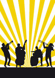 Thats jazz. Four jazz musicans on striped background Royalty Free Stock Photography