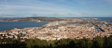 Thau basin - Sete - Herault - France. View of the Thau basin - Sete - Herault - Occitania - France royalty free stock images