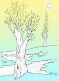 thaw άνοιξη σχεδίων δέντρο διανυσματική απεικόνιση