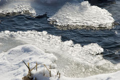 Thaw. Melting ice in water on spring stock images