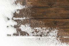 Thaw on the floor. Thaw on the wooden floor terrace in the backyard royalty free stock images
