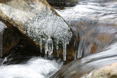 Thaw, melting ice, spring. And stream Royalty Free Stock Image