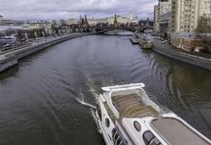 A view of the Kremlin from the Patriarchal bridge. stock photo