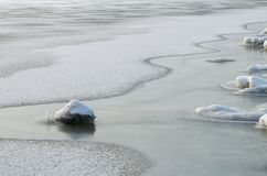 Thaw patches on the river. Form interesting lines royalty free stock image
