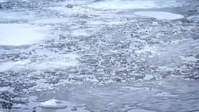 Thaw. Pieces, blocks and floes of melting ice float on water stock video