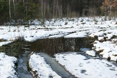 Thaw in winter, puddles and slush. Thaw in winter on a forest glade conceals snow, puddles and slush royalty free stock photos