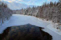 Thawed patch on ice river. Stock Photo