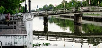 Thawi Watthana canal and bridge. Nakon Prathom, Thailand Royalty Free Stock Images