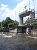 Thawi Watthana floodgate. Opening to relieve pressure from flooding, Bangkok, Thailand Royalty Free Stock Photo