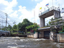 Thawi Watthana floodgate. Opening to relieve pressure from flooding, Bangkok, Thailand Royalty Free Stock Photos