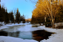 Thawing creek. The creek is thawing at the arrival of the spring Stock Photography