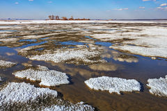 Thawing of ice on the Ob River Stock Photography