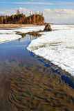 Thawing of ice on the Ob River Stock Photos