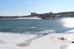 The thawing ice on the Ob River in the spring Stock Image