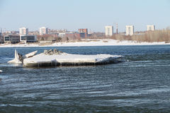 The thawing ice on the Ob River in the spring Royalty Free Stock Images