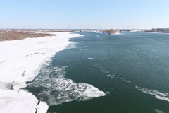 The thawing ice on the Ob River in the spring Royalty Free Stock Photos