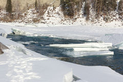 Thawing of ice on the river in the early spring Stock Images