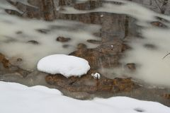 Thawing stream in winter. Royalty Free Stock Images