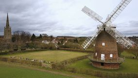 Thaxted village and windmill, Essex, England stock footage