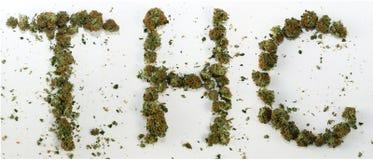 THC拼写用大麻 免版税库存照片