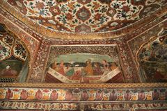 Painted walls at Katas Raj Temples Royalty Free Stock Photography
