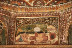 Painted walls at Katas Raj Temples Stock Photo