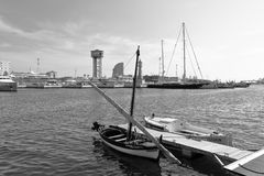 B&W image of boats in the Barcelona's yacht harbour, Barcelona, Catalonia, Spain stock photos