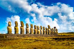 Free The 15 Moais At Ahu Tongariki In Rapa Nui National Park On Easter Island Royalty Free Stock Images - 152198079
