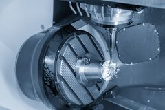Free The  5-axis Machining Center Cutting The Turbocharger Blade With Solid Ball End Mill Tool. The Automotive Part Manufacturing Stock Images - 217902964