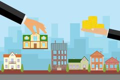 The Agent Sells The House In Exchange For Money, The Hand Holds The House And The Other Keeps The Money Royalty Free Stock Image