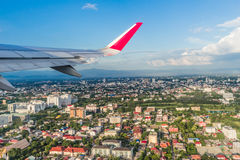 The Airplane Is Taking Off Over Chiang Mai City Stock Photos