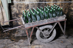 The Ancient Cart And Sparkling Wine.. Royalty Free Stock Image