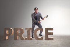 Free The Angry Man With Axe Axing The Price Word Royalty Free Stock Photos - 88667378