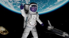 The Astronaut Against The Earth Stock Images