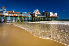 The Atlantic Ocean And Pier In Old Orchard Beach, Maine. Stock Photography