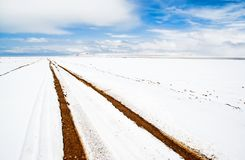The Bank Of Lake Namtso Bank Covered With Snow Royalty Free Stock Images