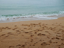 Free The Beautiful Beach With Footprint Royalty Free Stock Photo - 46747995