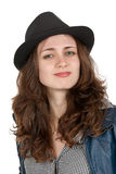 The Beautiful Girl In A Black Hat Stock Photography