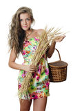 The Beautiful Girl With Wheat Ears Royalty Free Stock Photo